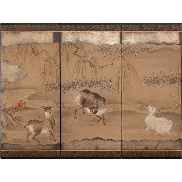 Tan 19th Century Late Edo Era Gold Leaf Japanese Byobu Screens- a Pair For Sale - Image 8 of 13