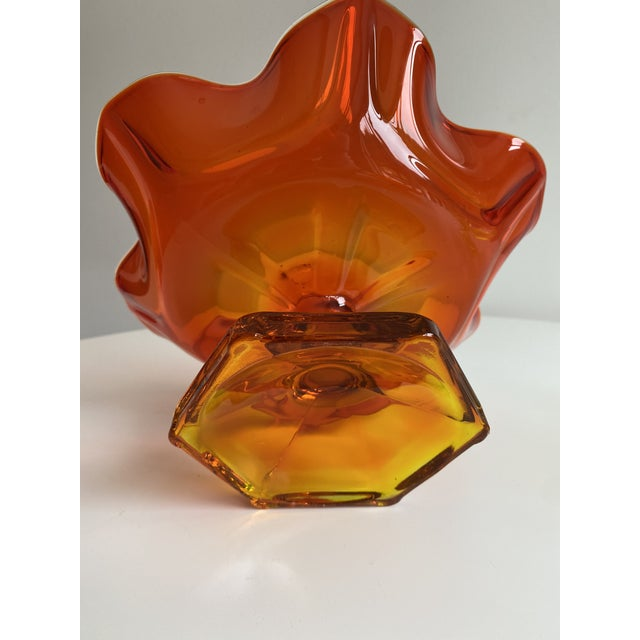 Mid-Century Modern Vintage Orange Viking Glass Bowl For Sale - Image 3 of 4