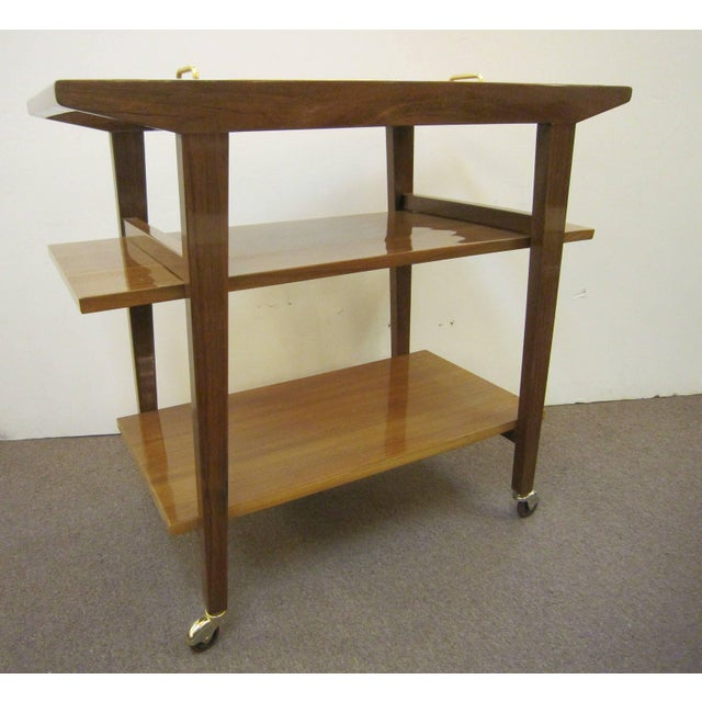 André Sornay French Mid-Century Modern Walnut Bar Cart Trolley/ Server/ Biblio, Andre Sornay For Sale - Image 4 of 11