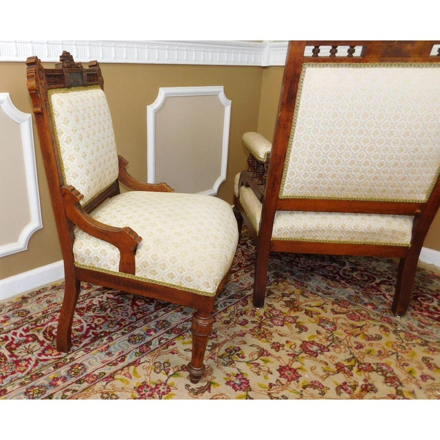 His & Her Victorian Renaissance Chairs - Pair - Image 11 of 11