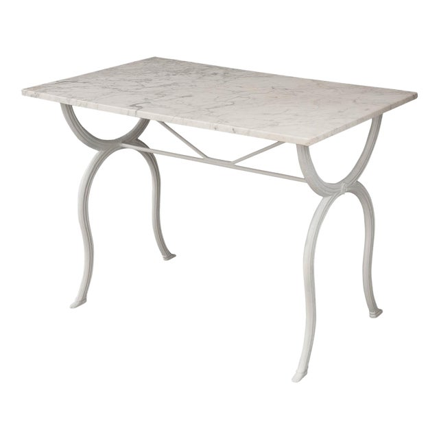 French 19th Century White Marble-Top Bistro Table For Sale