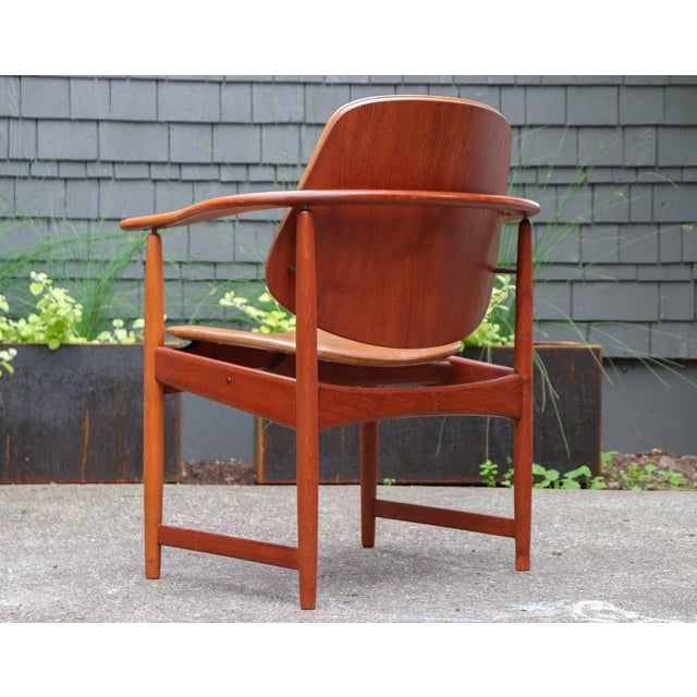 Arne Hovmand-Olsen 1960s Mid-Century Modern Arne Hovmand Olsen Teak Back Chair For Sale - Image 4 of 13
