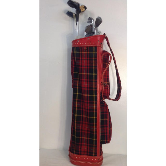 Vintage 1960s Red Tartan Spalding Golf Bag & Clubs - Image 2 of 7