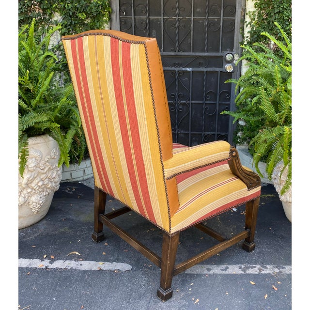 Antique Mahogany Leather Desk Chair W Linen Stripe Seat For Sale - Image 4 of 6