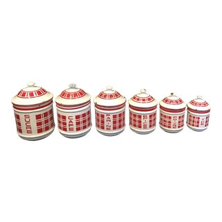 French Red and White Enamel Canister Set - 6 Pieces For Sale