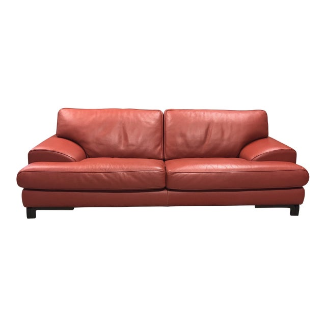 Roche Bobois Red Leather Sofa