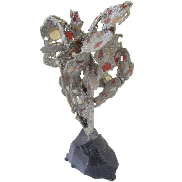 Lead Abstract Sculpture with Obsidian Base and Agate Inserts For Sale