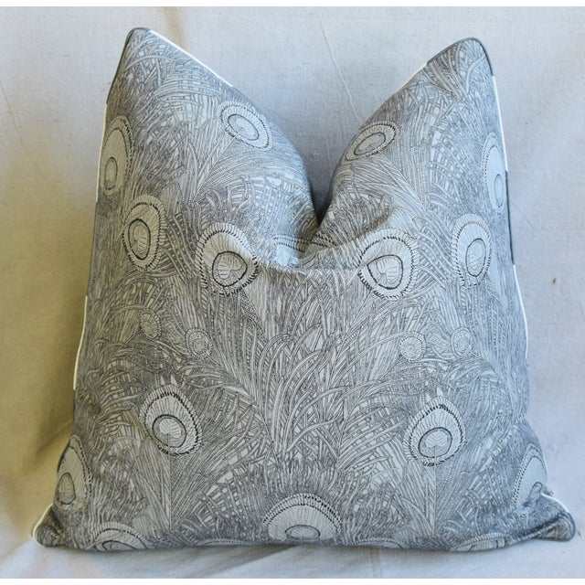 "Early 21st Century Peacock Feather Linen Feather/Down Pillows 21"" Square - Pair For Sale - Image 5 of 13"