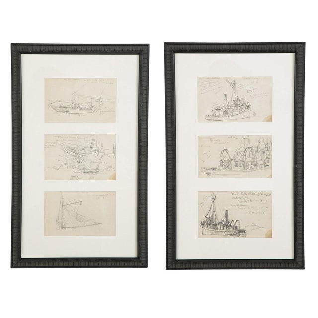 "Reynolds Beal ""Sail Boats and Fishing Boats"" Pencil Sketches - a Pair For Sale - Image 13 of 13"