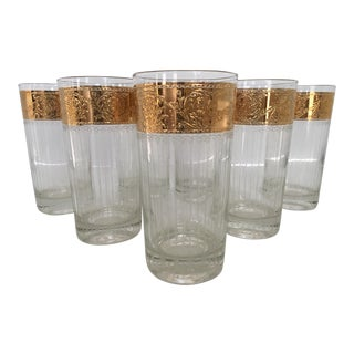 Mid-Century Culver 22k Gold Tyrol Pattern Highball Glasses - Set of 7 For Sale