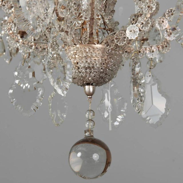 Italian Chandeliers With Round Beads and Original Beaded Canopies - a Pair For Sale - Image 9 of 12