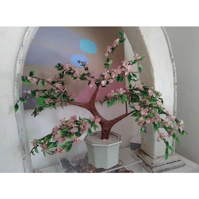 Large Mid-Century Chinoiserie Glass Cherry Blossom Flower Oriental Tree Sculpture For Sale In West Palm - Image 6 of 6