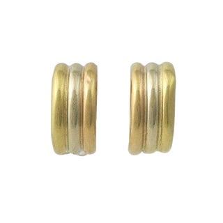 Pair 18k Tri Color Half Hoop Pierced Earrings For Sale