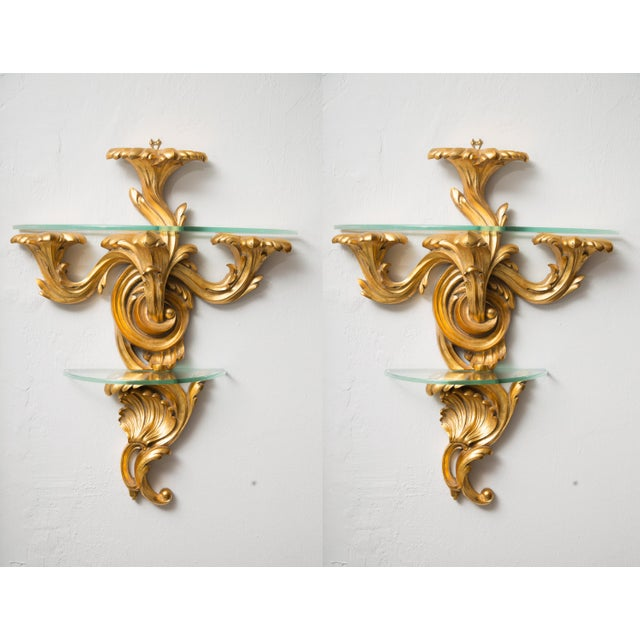 Giltwood Pair of Gilt Rococo Style Brackets with Glass Shelves For Sale - Image 7 of 8