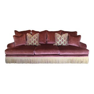 Century Furniture Lavish Pink Velvet Sofa For Sale