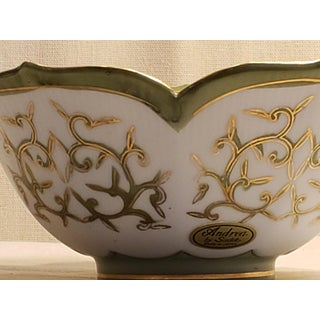 Vintage Sadek Labeled and Numbered Hand Painted Gold Edge Lotus Leaf Bowl Preview