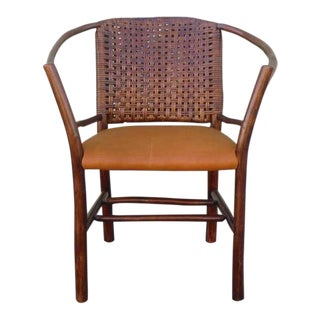 1930's Old Hickory Barrel Back Side Chair w/Leather Seat
