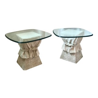 """mcm Pair Draped Linen Plaster Side Tables John Dickinson Style Signed Lane""- a Pair For Sale"