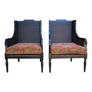 Late 20th Century Sarreid Ltd Chatham Fireside Double Cane Chairs- A Pair For Sale
