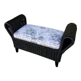 French Wicker Boudoir Upholstered Bench