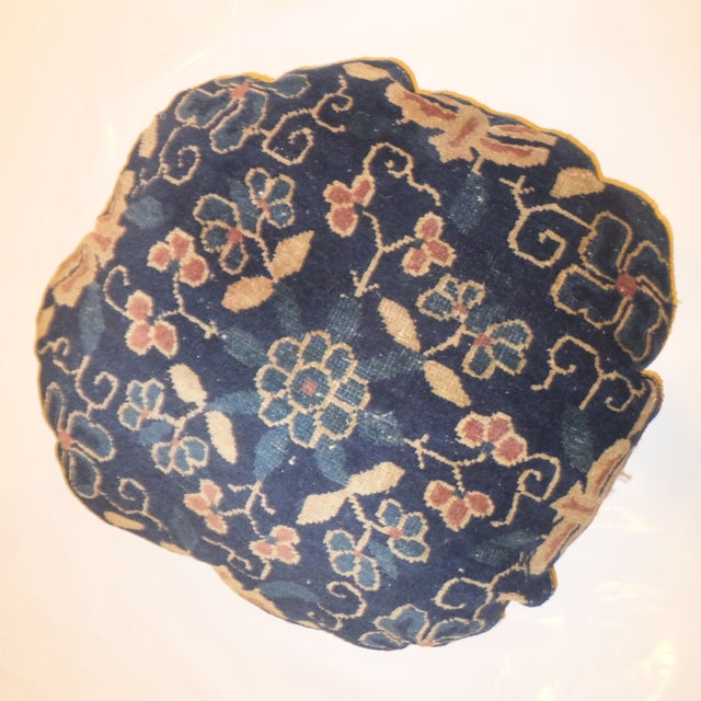 Round Antique Chinese Rug Fragment Pillow - Image 2 of 3