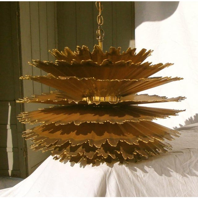 Brutalist Tom Greene Chandelier Feldman Brutalist Hanging Light For Sale - Image 3 of 9
