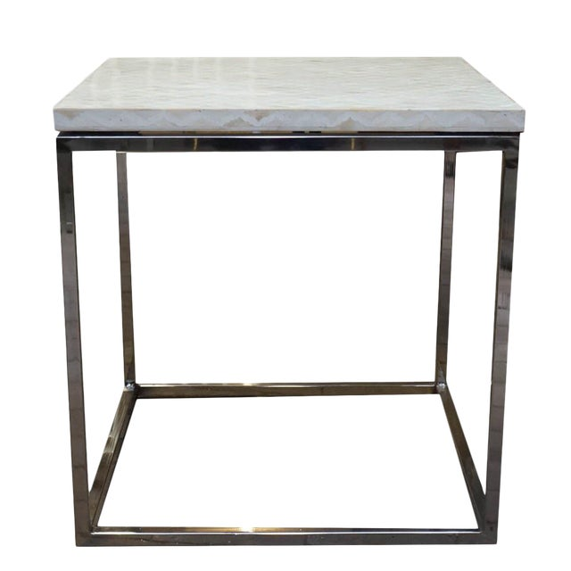 Indian Style Bone Inlay Side Accent Table For Sale