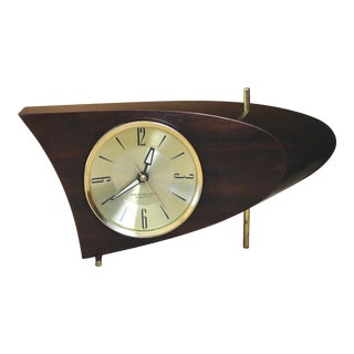 Westclox Electric 707 Walnut Boomerang Clock