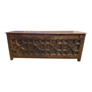 Indonesian Solid Wood Handcrafted Sideboard Chest For Sale