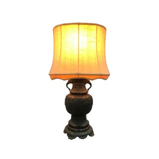 18th/19th Century Japanese Bronze Vase Mounted as Lamp With Shade For Sale