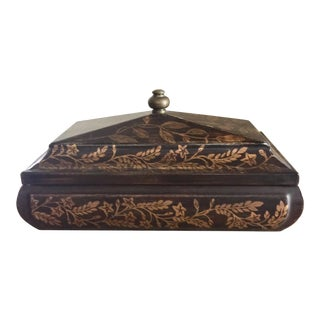 Gold Hand-Painted Brown Lidded Box