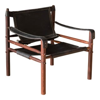 Mid Century Rosewood and Leather Sirocco Safari Lounge Chair by Arne Norell For Sale