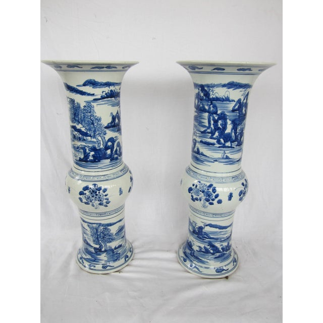 Mid 20th Century Pair of Large Blue and White Chinese Trumpet Vases For Sale - Image 5 of 9