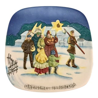 1977 Christmas Around the World Limited Edition Plate Christmas in Poland For Sale