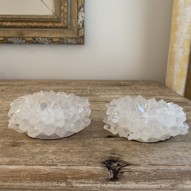 """Contemporary Brazilian Rock Crystal Quartz 4"""" Votive Candle Holders- a Pair For Sale - Image 3 of 6"""