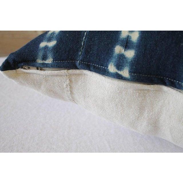 Antique Indigo Blue Batik Fringe Accent Pillow For Sale - Image 4 of 8