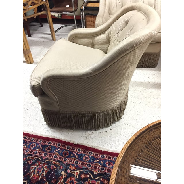 Traditional Fringe Trim Tufted Club Chairs - a Pair For Sale - Image 3 of 6