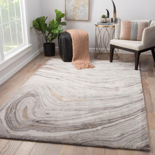 2010s Jaipur Living Atha Handmade Abstract Gray/ Gold Area Rug - 2′ × 3′ For Sale - Image 5 of 6