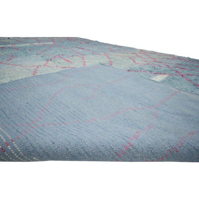 Indian Blue and Pink Area Rug - 10′8″ × 13′4″ For Sale - Image 4 of 5
