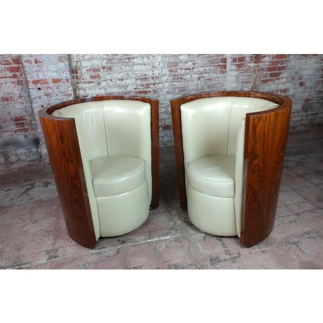 Art Deco Art Deco Fabulous Burl Walnut Barrel Chairs W/White Leather Seats-A Pair For Sale - Image 3 of 10
