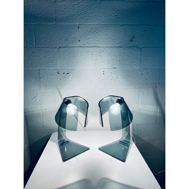 Pair of L'astra Smoked Gray Glass Table or Desk Lamps by Fiam Italia For Sale - Image 11 of 13