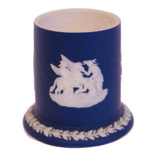 Small Wedgwood Porcelain Spill Vase in Dark Blue For Sale