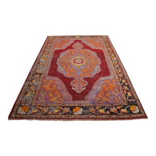"""Harmony of Colors Hand-Knotted Antique Oushak Rug Distressed Area Rug - 5'6"""" X 8'9"""" For Sale"""