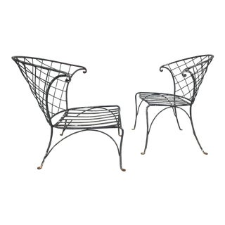 Salterini Wrought Iron Outdoor Patio Garden Chairs - a Pair For Sale