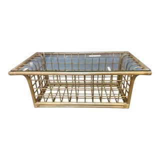 Mid 20th Century Bamboo + Glass Coffee Table For Sale