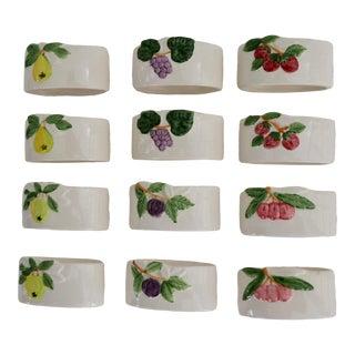 Vintage Porcelain Fruit Napkin Rings - Set of 12 For Sale