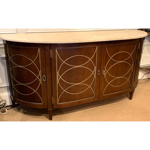 Modern Duchamp Demilune Sideboard With Satillia Marble Top, by Hickory Chair Furniture For Sale - Image 3 of 12