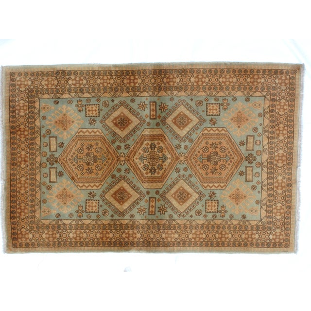 "Persian Leon Banilivi Persian Blue Kashkuli Rug - 3'5"" x 5'4"" For Sale - Image 3 of 5"