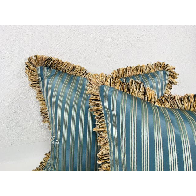 Contemporary Coraggio Teal & Silver Stripe Pillows- a Pair For Sale - Image 3 of 5