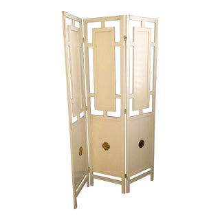 Antique White Wooden Room Divider Screen